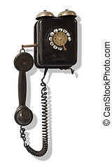 Old black wall-mounted telephone