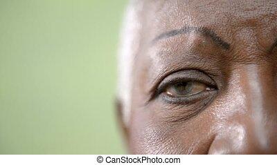 Old black woman portrait, close-up