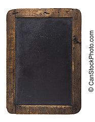 An old blank blackboard isolated on white