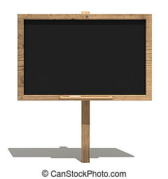 Old blackboard - blackboard with old wood frame and apiece...