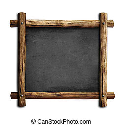 old blackboard or chalkboard with wooden frame isolated