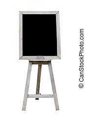 Old  Blank black art board, wooden easel, front view