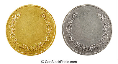Old blank gold and silver coins isolated on white