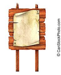 old blank manuscript on the wooden billboard 3d illustration