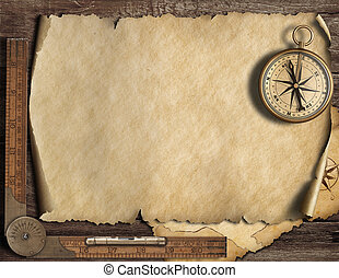 Old blank map background with compass. Adventure and travel...