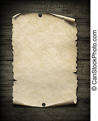 Old blank paper poster with nails 3d illustration - Old...