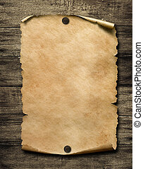 Old blank paper with nails 3d illustration - Old blank paper...