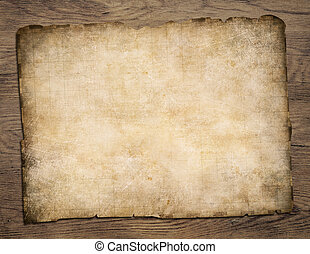 Old blank parchment treasure map on wooden table