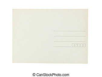 blank post card isolated on white background