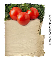 Old blank recipe book with photo of tomato