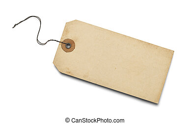 Large Brown Tag with Copy Space Isolated on white Background.