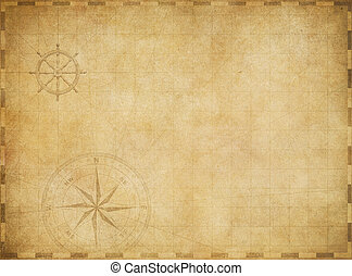 old blank vintage nautical map on worn parchment background...