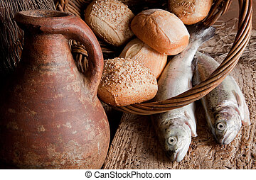 Old blessing - Religious still life of 5 loaves of bread, an...