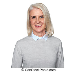 Old blonde woman toothy smiling. isolated