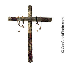 Old weathered wooden cross with blood and tie ropes representative of the cross that was used during the crucifixion of Jesus Christ.