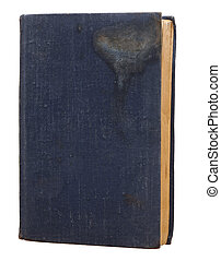 old blue book on a white background