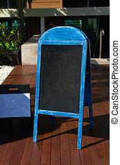 Old Blue Chalkboard menu sign mockup template for your restaurant design