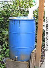 Old Blue Cistern - A large plastic barrel used to collect...