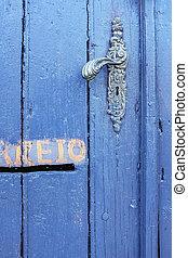 Old Blue Door Detail