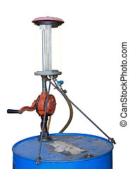 Old blue gasoline tank with hand pump