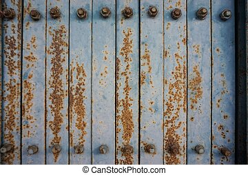 old blue iron door with rust 1