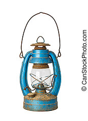 Old blue lantern isolated on white background