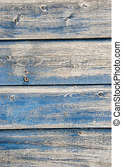 Old blue painted planks