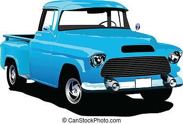 Old blue pickup with badges remove