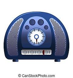 Old blue radio icon, cartoon style