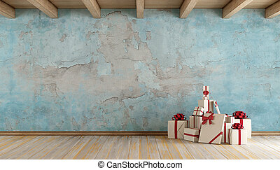 Old blue room with christmas gift
