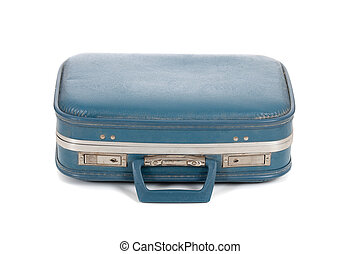Old blue suitcase on white