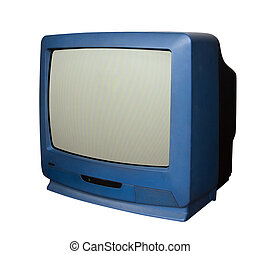 Old blue television with clipping path
