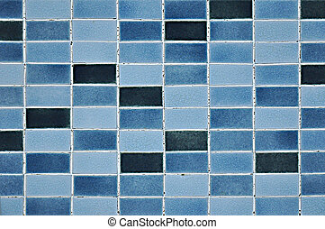 Old blue tile pattern - Blue tile wall texture as background...