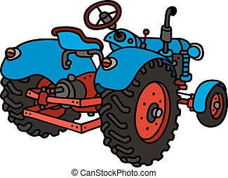 Hand drawing of a classic blue open tractor - not a real type