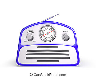 Old blue vintage retro style radio receiver isolated on white background
