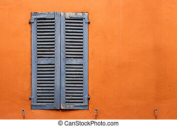 old blue window