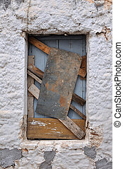 old boarded up window frame background