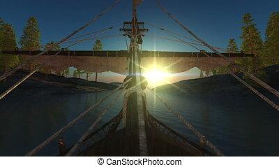 old boat float port sunset