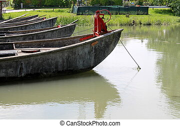 old boat on lake