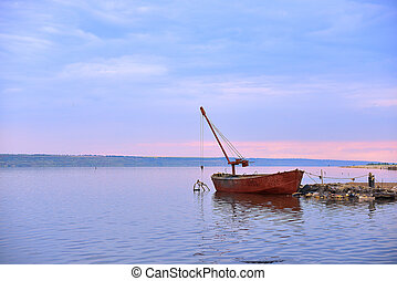 Old Boat On River