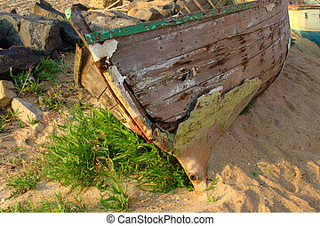 Old boat on the coast