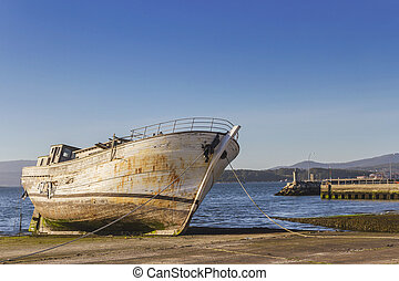 Old boat on the ramp