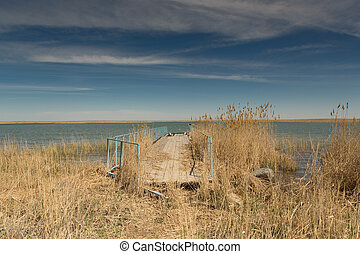 Old boat pier on the shore of the small Aral sea in Kazakhstan. In the foreground is tall grass.