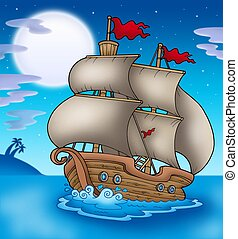 Old boat sailing sea at night - color illustration.