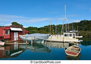 Old boat shed - New Zealand - An old boat shed with empty...