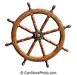 Old boat steering wheel cutout - Old seasoned boat steering...