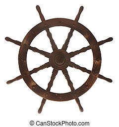Old boat steering wheel isolated on white background.
