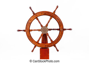 Old boat steering wheel isolated in white