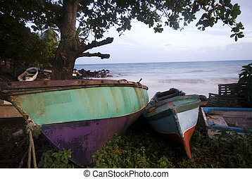 old boats by the sea