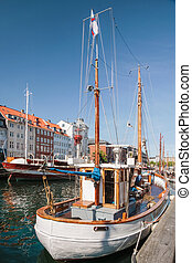 Old boats in Nyhavn in Copenhagen